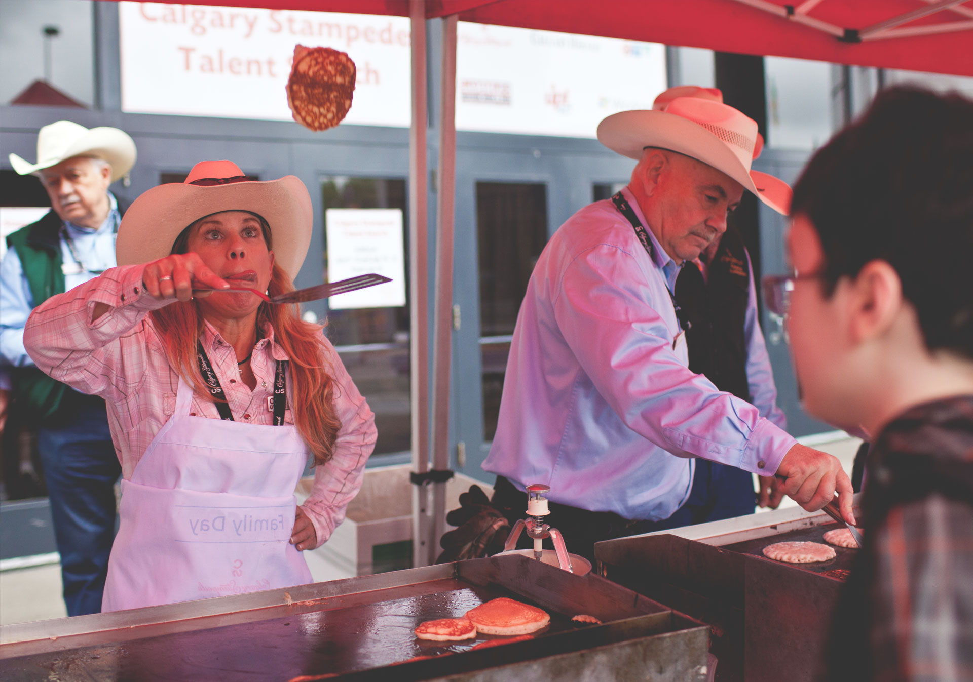 Pancake breakfasts at the Calgary Stampede.